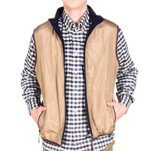 Reversible Sherpa Vest in Navy & Khaki by Madison Creek Outfitters  - 2