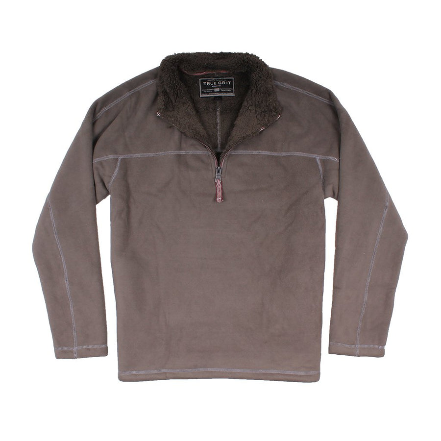 True Grit Bonded Polar Fleece & Sherpa Lined 1/4 Zip Pullover with Pockets in Vintage Wine