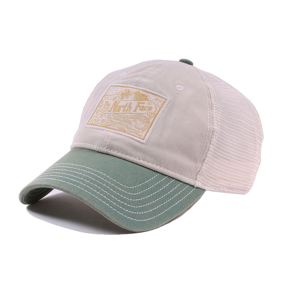 f191b32d The North Face Patches Trucker Hat in Dune & Vintage White - Tide ...