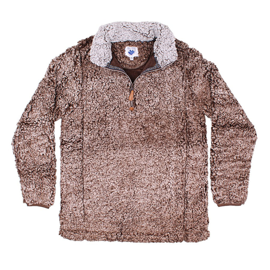 Nordic Fleece Quarter Zip Sherpa Pullover in Tan with Gray