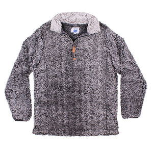 Nordic Fleece Quarter Zip Sherpa Pullover in Black with Gray