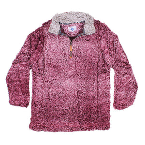 Nordic Fleece Quarter Zip Sherpa Pullover in Burgundy with Gray