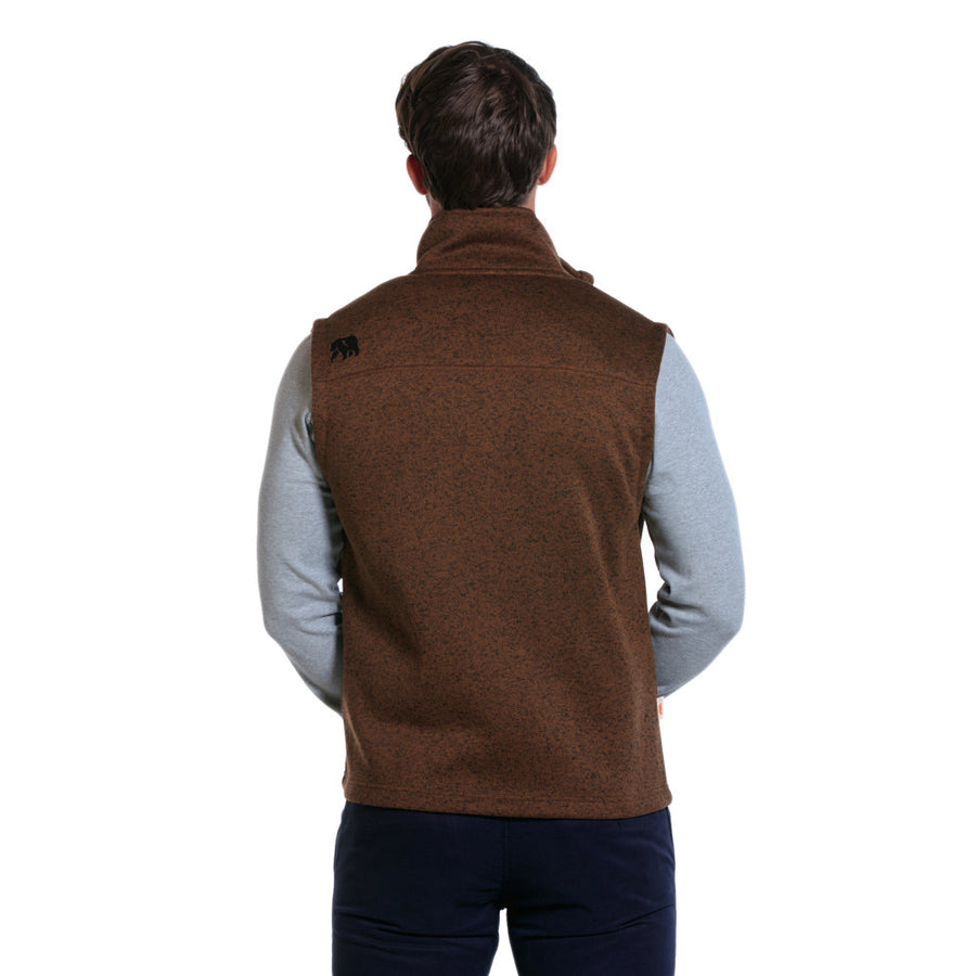 Lincoln Fleece Vest in Brown   - 1