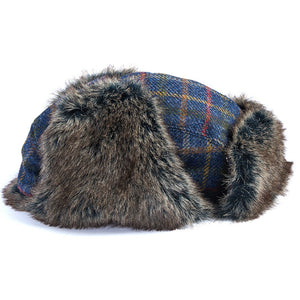 Medway Tweed Trapper Hat in Navy Bright Plaid