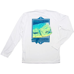 Mahi Close Up Long Sleeve Wicking Tee Shirt in White by Fripp & Folly  - 1