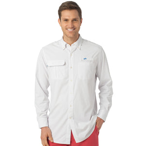 Marlin Check Fishing Shirt in Classic White