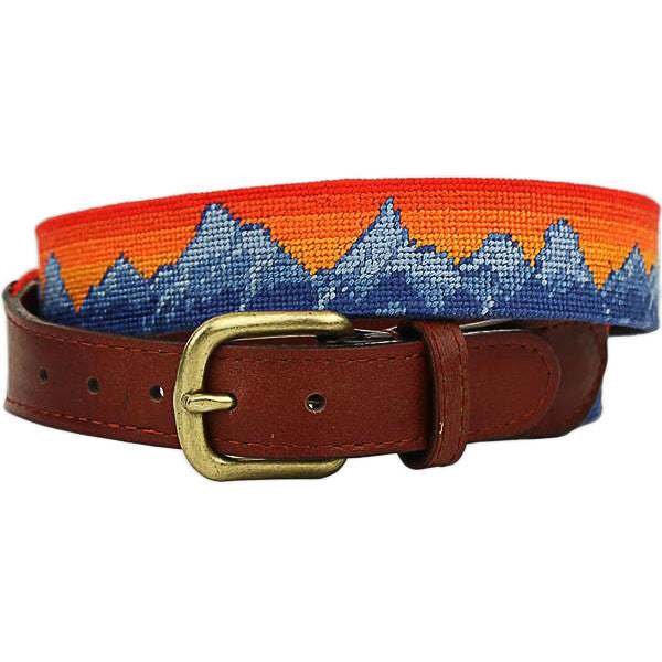 Mountain Sunset Needlepoint Belt by Smathers & Branson