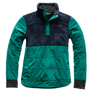 Women's 1/4 Snap Mountain Sweatshirt in Evergreen & Urban Navy by The North Face