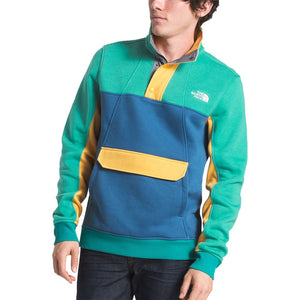 The North Face Men's Alphabet City Fleece Pullover in Porcelain Green, Dish Blue & Amber