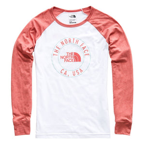 The North Face Women's Long Sleeve Malibae Tri-Blend Tee in TNF White Heather & Faded Rose Heather