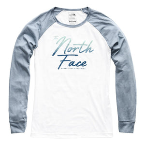 Women's Long Sleeve Malibae Tri-Blend Tee in TNF White Heather & Gull Blue Heather