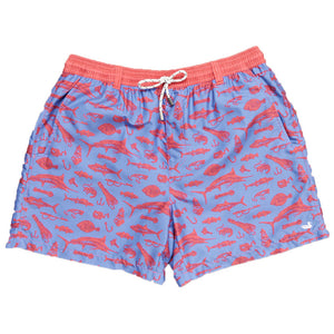 Offshore Angler Dockside Swim Trunk in Red & French Blue by Southern Marsh  - 1