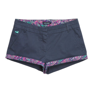 The Brighton Short in Colonial Navy with Paisley by Southern Marsh  - 3