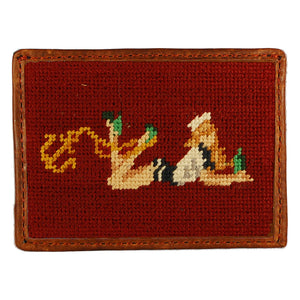 Pin-Up Girl Needlepoint Credit Card Wallet in Light Burgundy by Parlour  - 1