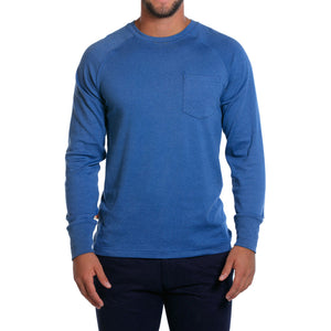 Puremeso Pocket Crew Long Sleeve Tee in Light Blue   - 1