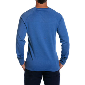 Puremeso Pocket Crew Long Sleeve Tee in Light Blue   - 3
