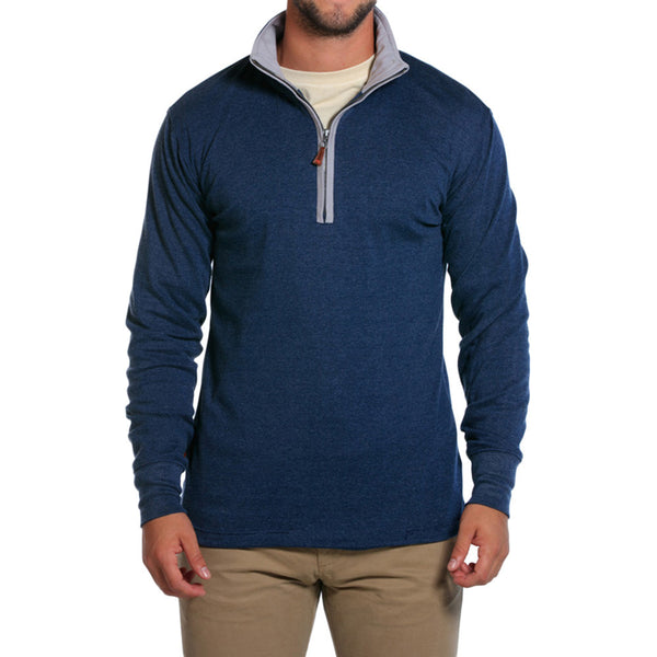 Puremeso Quarter Zip Pullover in Navy   - 1