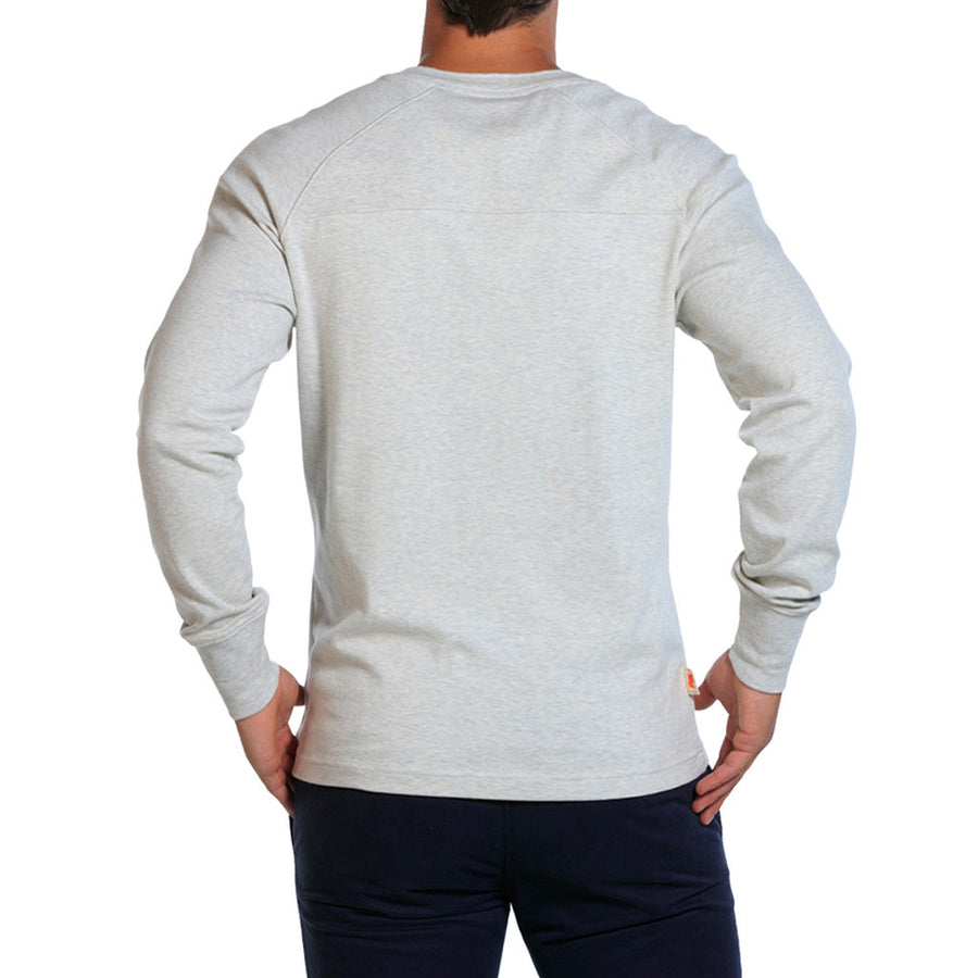 Puremeso Henley Long Sleeve Tee in Stone   - 1