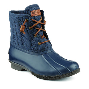 Women's Saltwater Rope Embossed Duck Boot in Navy by Sperry