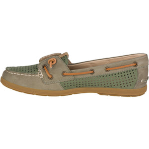 Women's Coil Ivy Perforated Boat Shoe in Olive by Sperry