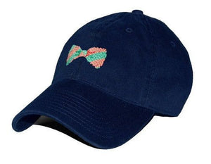 Bow Tie Needlepoint Hat in Navy