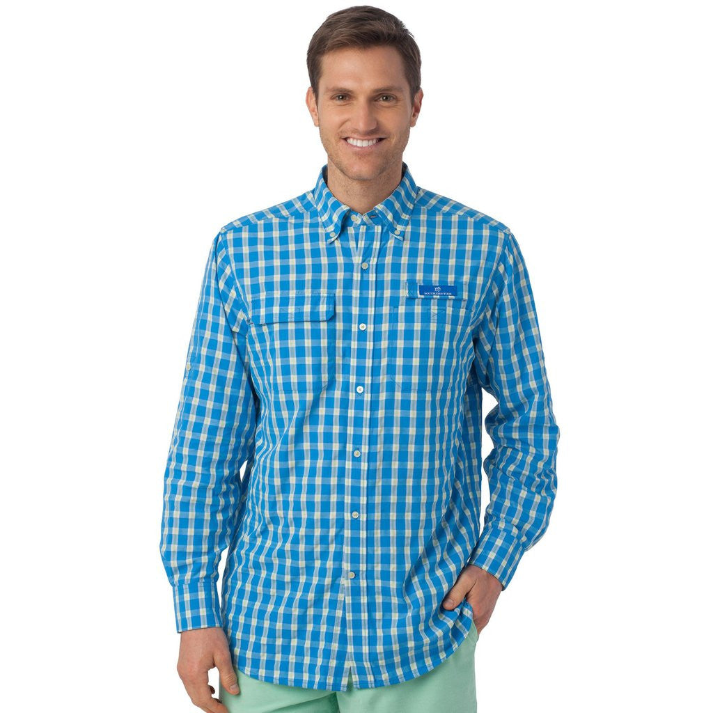 Plaid performance fishing shirt southern tide tide and for Button down fishing shirts