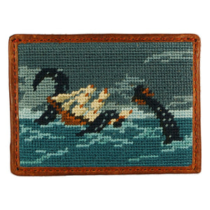 Shipwreck Needlepoint Credit Card Wallet in Blue by Parlour  - 1