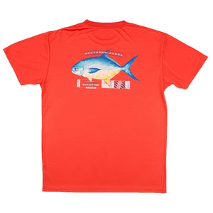 Southern Marsh FieldTec Short Sleeve Pompano Pocket Tee in Coral with Electric Blue