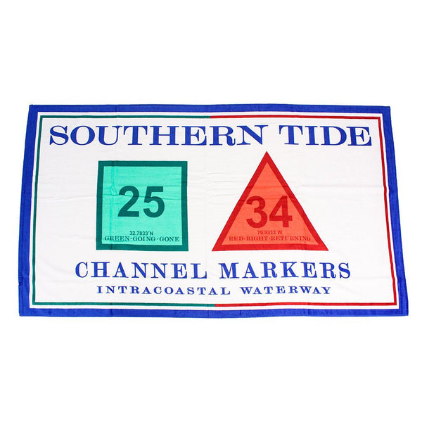 Channel Marker Beach Towel in White