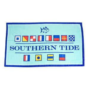 Nautical Flag Beach Towel in Offshore Green