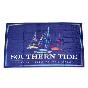 Three Sails Beach Towel in Blue Lake