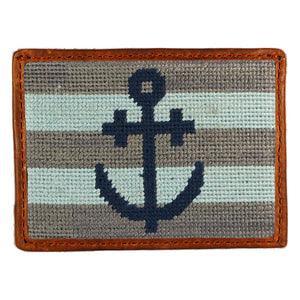 Striped Anchor Needlepoint Credit Card Wallet in Blue and Grey by Parlour  - 1
