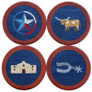 Texas Life Needlepoint Coasters in Classic Navy