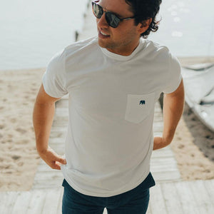 The Normal Brand Circle Back Short Sleeve Pocket Tee in White & Atlantic