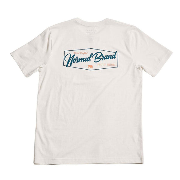 The Normal Brand Industrial Logo Short Sleeve Tee in White & Navy