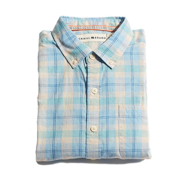 The Normal Brand Louis Plaid Weave Slub Button Down in Sky