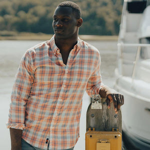 The Normal Brand Louis Plaid Weave Slub Button Down in Sunrise