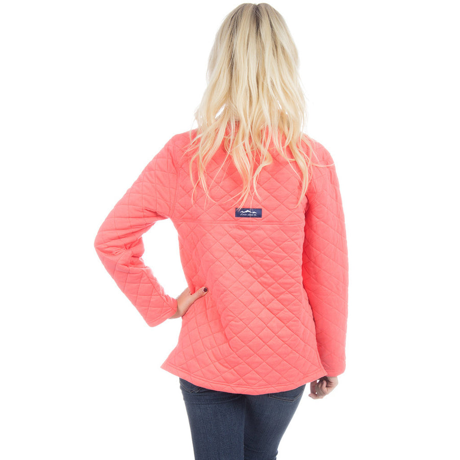 The Lawson Quilted Pullover in Coral   - 1