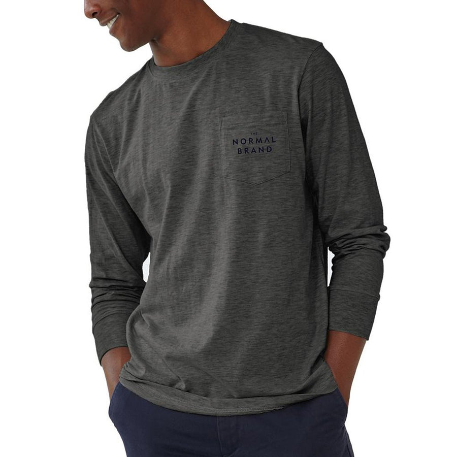 The Normal Brand Long Sleeve Vintage Active Wear T in Tri Blend Grey