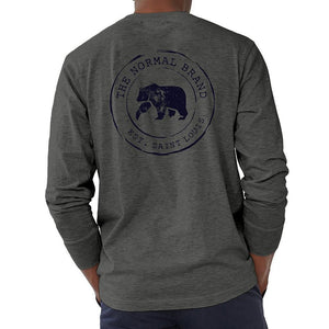 The Normal Brand Long Sleeve Vintage Circle Back T in Tri Blend Grey