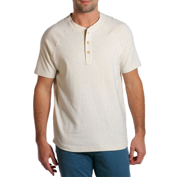 The Normal Brand Puremeso Heathered Short Sleeve Henley in Stone