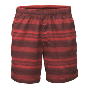 "the north face Men's 7"" Class V Pull-On Trunks in sunbaked red static stripe"