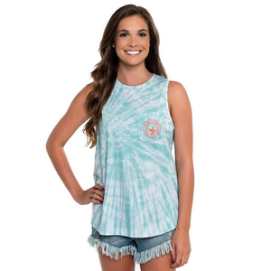 The Southern Shirt Co. Salt Washed Tie Dye Tank in Ice Green