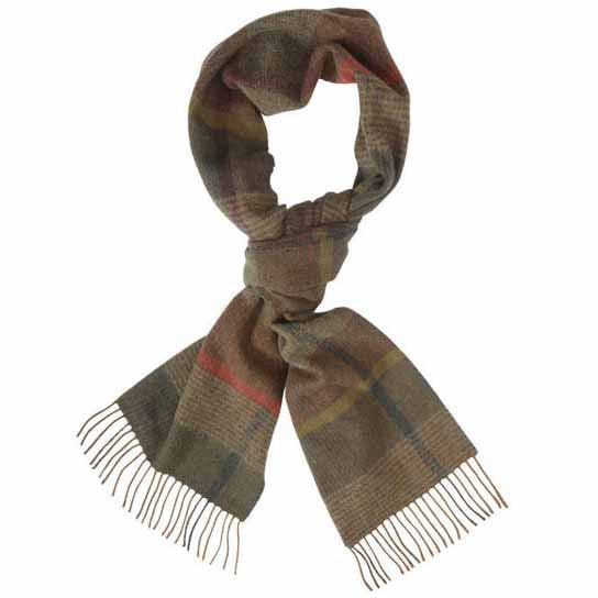 Country Plaid Scarf in Olive Mix
