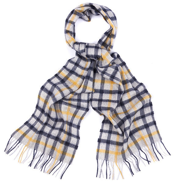 Bolt Tattersall Scarf in Grey/Navy/Yellow