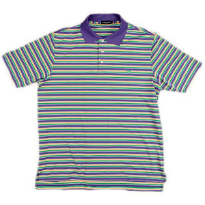 Bermuda Performance Warwick Stripe Polo in Purple-Green-Gold by Southern Marsh