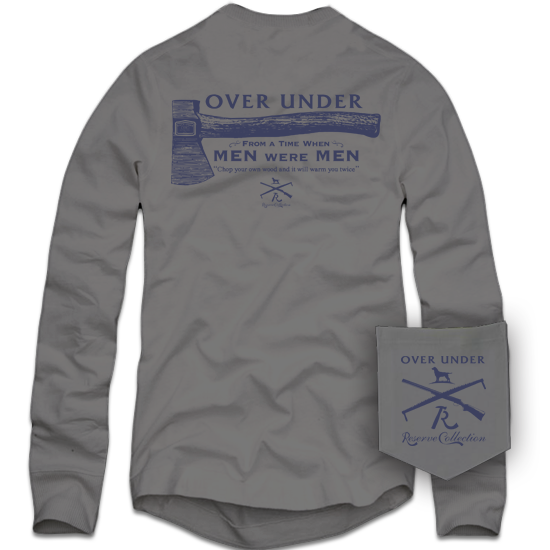 When Men Were Men Long Sleeve Tee in Hurricane Grey by Over Under Clothing