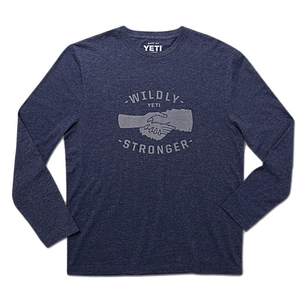 Wildly Stronger Handshake Long Sleeve Tee in Heather Navy   - 1
