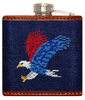 Americana Needlepoint Flask in Navy