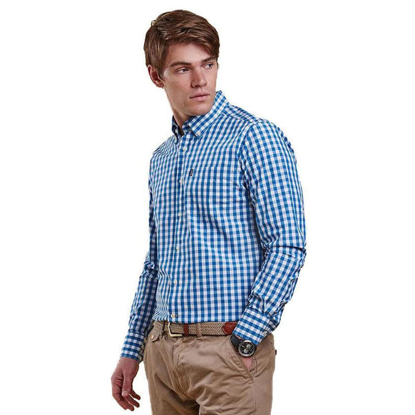 Auton Tailored Fit Button Down in Aqua by Barbour  - 1